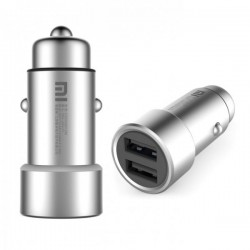 Xiaomi Car Charger 2-in-1 Dual USB Adapter Fast Charging Car Charger Metal - Silver